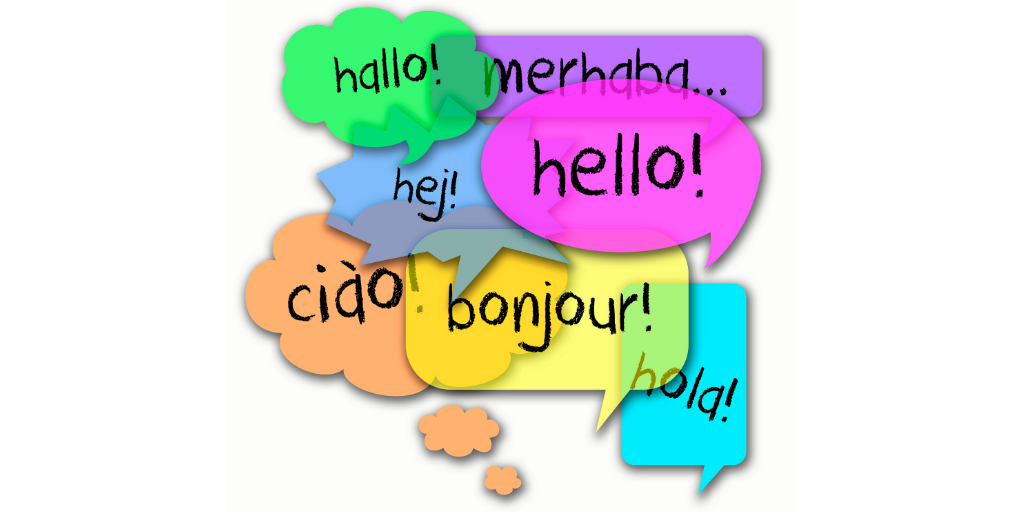 colourful speech bubbles with text saying 'hello' in different languages