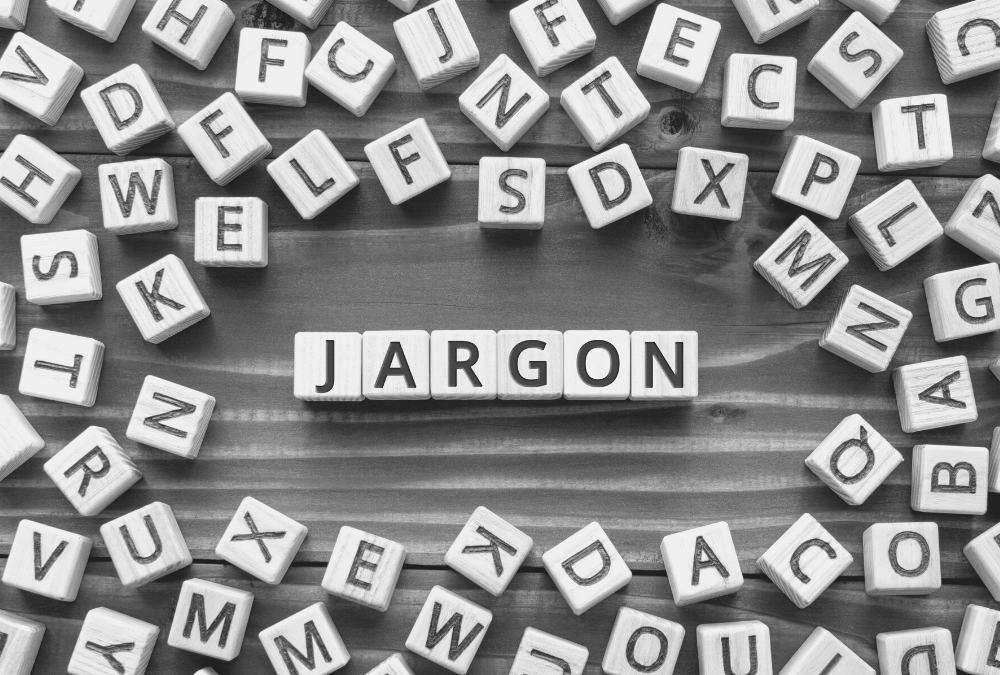 random letter cubes with the word 'jargon' spelled out in the middle