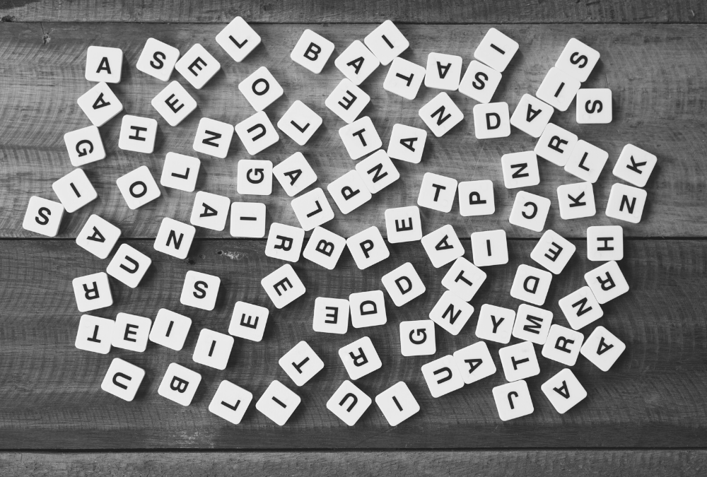 random selection of letter tiles, representing when to use capital letters