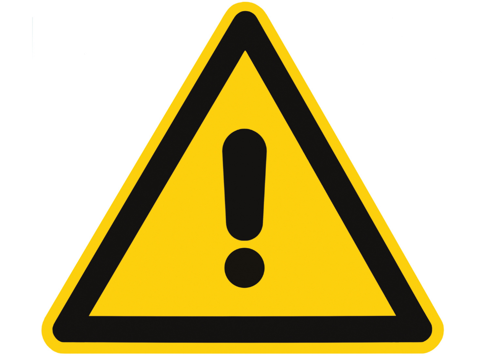yellow triangle with exclamation mark warning sign