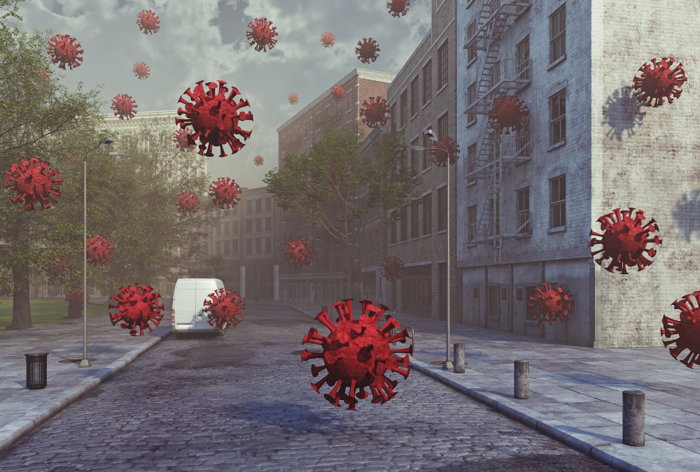 lockdown language - image of deserted street with virus